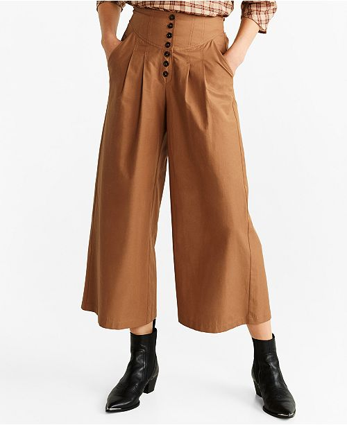 MANGO Flared Cotton Trousers
