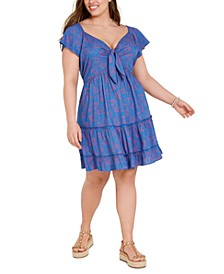 Trendy Plus Size Printed Tie-Front Tiered Dress