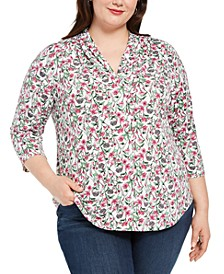 Plus Size Pleat-Neck Top, Created for Macy's