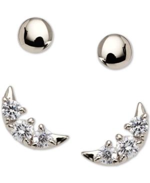 2-Pc. Set Crystal Crescent Stud Earrings