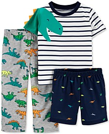 Toddler Boys 3-Pc. Dinosaur Pajamas Set