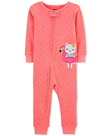 Baby Girls 1-Pc. Kitty Cat Dot-Print Footless Cotton Pajamas