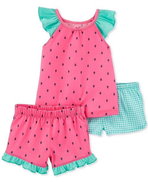 Carter's Toddler Girls 3-Pc. Watermelon Pajamas Set