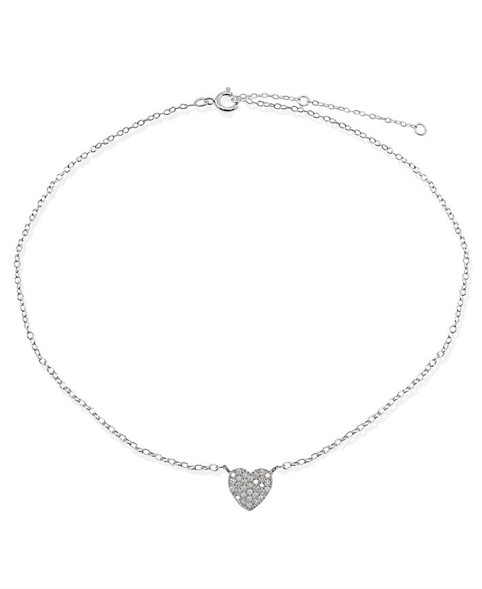 Giani Bernini - Cubic Zirconia Pavé Heart Ankle Bracelet in Sterling Silver or 18K Gold-Plated Sterling Silver