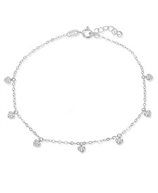 Cubic Zirconia Pavé 7 Mini Heart Drops Ankle Bracelet in Sterling Silver or 18K Gold-Plated Sterling Silver