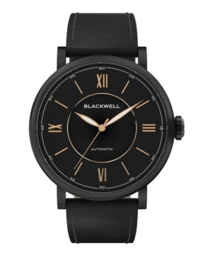 Black Dial with Black Plated Steel and Black Leather Watch 44 mm