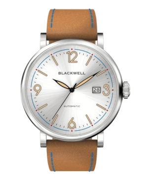 White Silver Tone Dial with Silver Tone Steel and Bright Brown Leather Watch 44 mm