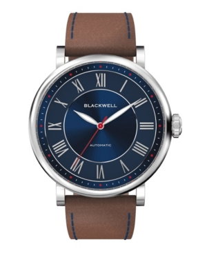 Sunray Blue Dial with Silver Tone Steel and Brown Leather Watch 44 mm