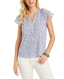 Floral-Print Flutter-Sleeve Top, Created for Macy's