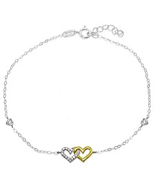 Cubic Zirconia Pavé Interlocking Hearts Ankle Bracelet in Sterling Silver or Two Tone Sterling Silver & 18K Gold-Plated Sterling Silver