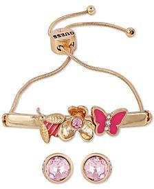 Gold-Tone Crystal Butterfly Slider Bracelet & Stud Earrings Set