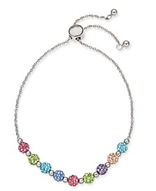 INC Silver-Tone Multicolor Pavé Fireball Slider Bracelet, Created for Macy's