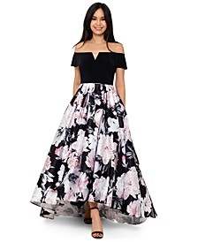 Floral-Print High-Low Ball Gown