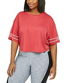 Plus Size Logo-Sleeve Dri-FIT Cropped T-Shirt