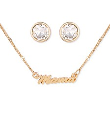 Gold-Tone Mama Collar Necklace & Crystal Stud Earrings Set