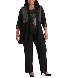 Plus Size 2-Pc. Sequinned Jacket Top & Straight-Leg Pants