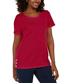 Button-Hem Scoop-Neck Cotton Top, Created for Macy's
