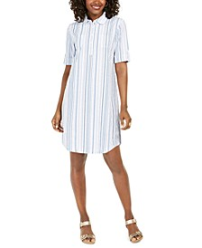 Plus Size Cotton Striped Seersucker Shirtdress, Created for Macy's