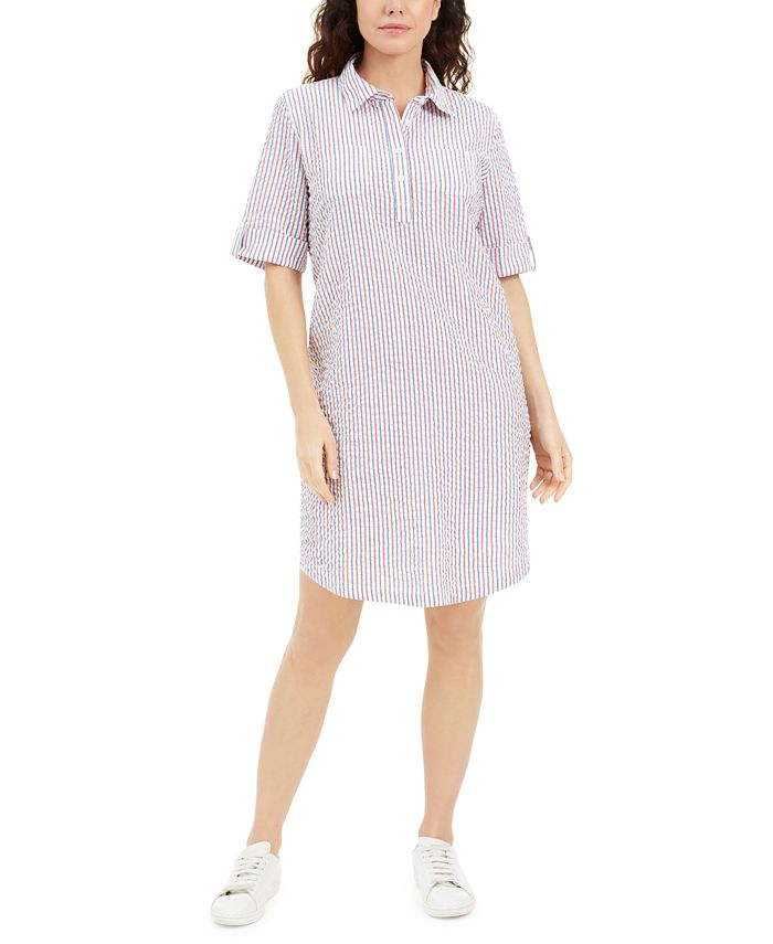 Karen Scott - Petite Seersucker Shirtdress