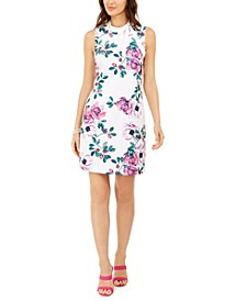 Petite Tie-Neck Floral Sheath Dress