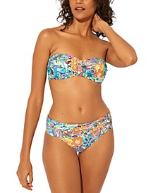 Floral-Print Bandeau Bikini Top & Hipster Bottoms