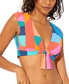 Tie-Front Cap-Sleeve Bikini Top
