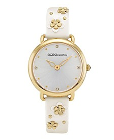 Ladies 3 Hands Slim White Synthetic Leather Strap Watch, 34 mm Case