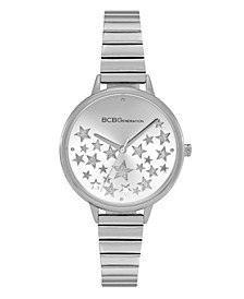 Ladies 3 Hands Slim Silver-Tone Stainless Steel Bracelet Watch, 34 mm Case
