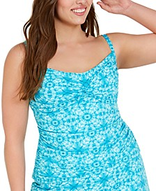 Trendy Plus Size Printed Underwire Tankini Top