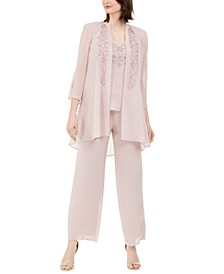 3-Pc. Beaded Jacket, Top & Wide-Leg Pants Set