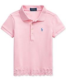 Little Girls Lace-Hem Stretch Mesh Polo Shirt