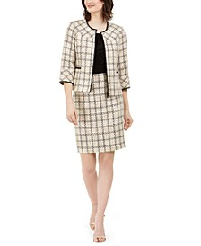 Tweed Zip-Front Jacket & Pencil Skirt