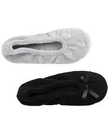 Isotoner Signature Women's 2-Pk. Microterry Embroidered Ballerina Slippers
