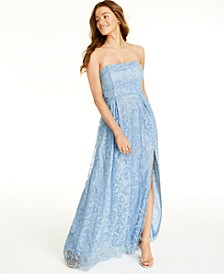 Juniors' Glitter Lace Strapless Gown