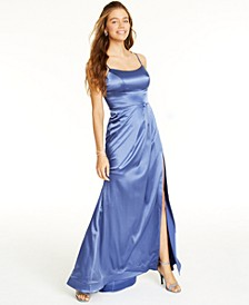 Juniors' Blue Satin Gown