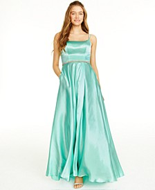 Juniors' Rhinestone-Trim A-Line Gown