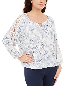 Paisley-Print Keyhole Crochet Top, Created for Macy's