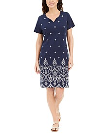 Petite Embroidered Pullover Dress, Created for Macy's
