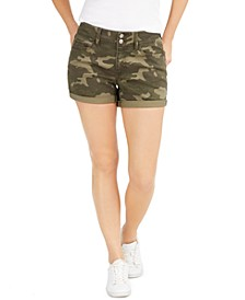Juniors' Cuffed Camo-Printed Denim Shorts
