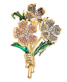 Gold-Tone Multicolor Crystal Flower Bouquet Pin, Created for Macy's