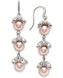 Silver-Tone Crystal & Imitation Pearl Triple Drop Earrings, Created for Macy's