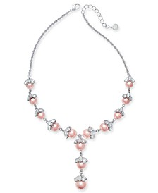 """Silver-Tone Crystal & Imitation Pearl Lariat Necklace, 16"""" + 2"""" extender, Created for Macy's"""
