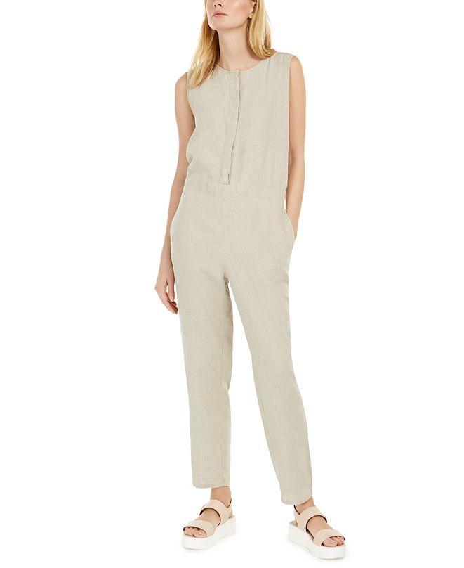 Eileen Fisher Organic Linen Sleeveless Jumpsuit