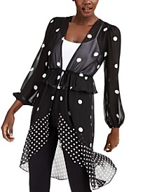 INC Polka-Dot Tie-Waist Kimono, Created for Macy's
