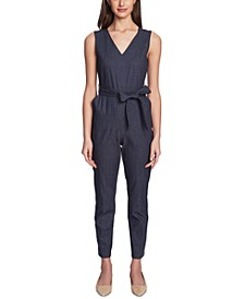 Belted Faux-Denim Jumpsuit