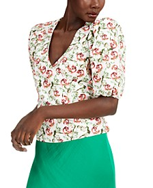 INC Floral Puff-Sleeve Wrap Top, Created for Macy's