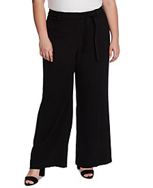 Plus Size Twill Wide-Leg Pants