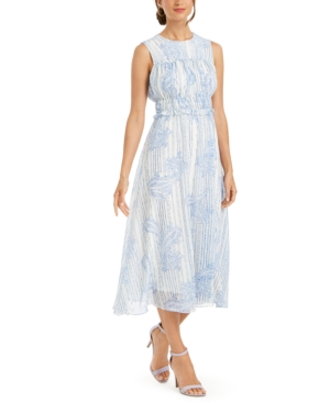 Taylor Paisley Chiffon Ruched Dress