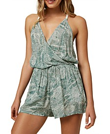Juniors' Alex Palm-Print Romper
