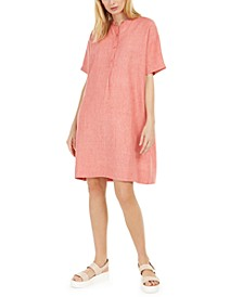 Organic Linen Band-Collar Dress, Regular & Petite Sizes